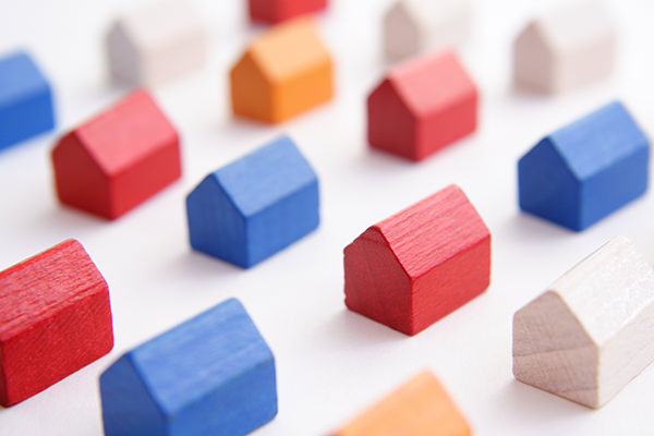 Red, White, Orange & Blue Monopoly Houses